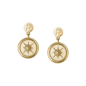 Gold Plated True North Coin Earrings