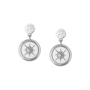 Silver True North Coin Earrings