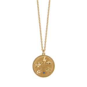 Gold Plated Talisman Necklace - Blue Sap