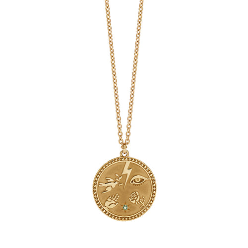 Gold Plated Talisman Necklace - Green Sap
