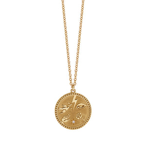 Gold Plated Talisman Necklace - Diamond