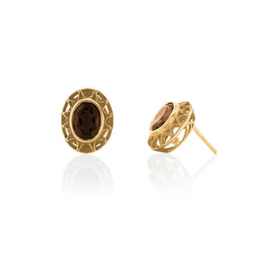 9ct Yellow Gold Smokey Quartz Earrings