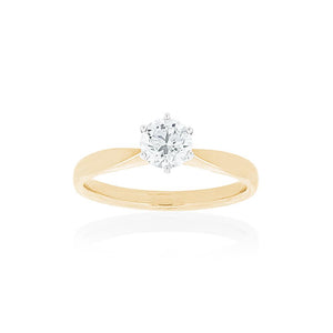 18ct Yellow Gold Vanity Diamond Ring 1D =.41