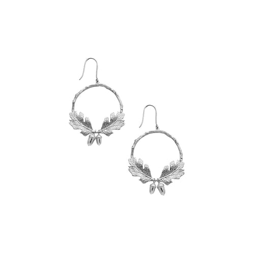 Silver Acorn & Leaf Wreath Earrings