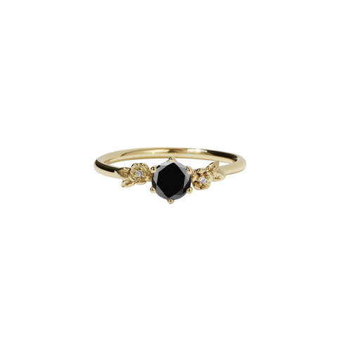 9ct Yellow Gold Black Diamond and Diamonds Alba Ring