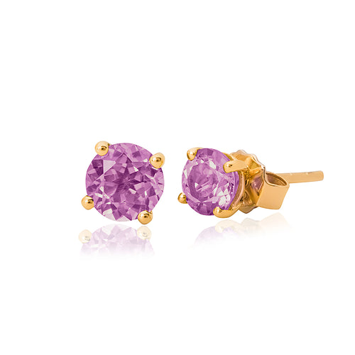 9ct Yellow Gold Amethyst Stud Earring 4mm