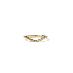 9ct Yellow Gold Aphrodite Band - Pave