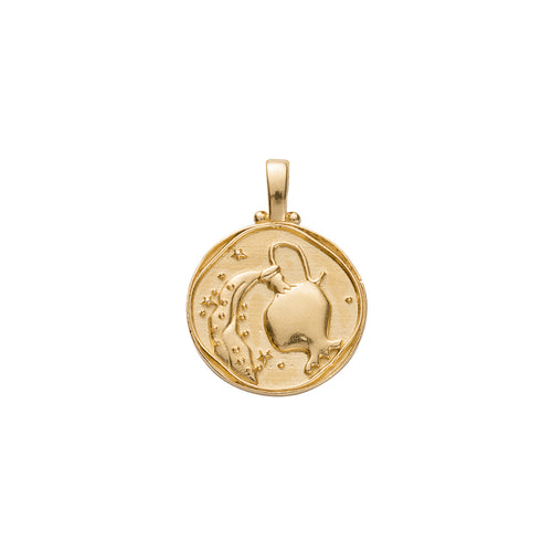 Gold Plated Aquarius Zodiac Pendant