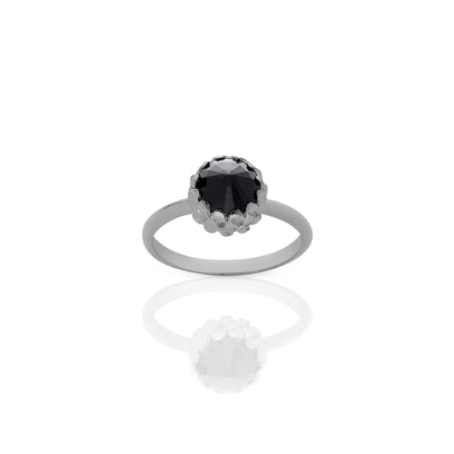 Meadowlark Silver Mini Protea Onyx Ring