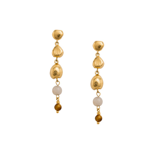 Gold Plated Artisan Drop Earring Set