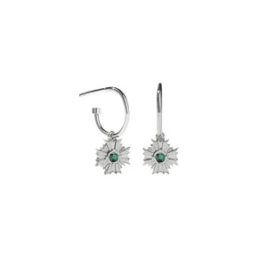 Silver August Signature Hoop - Pair - Emerald