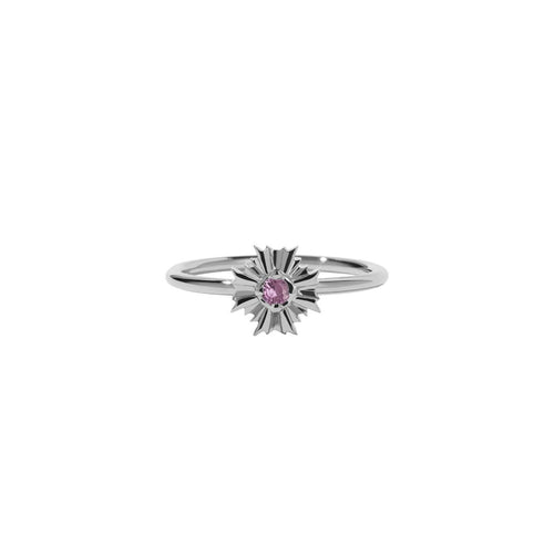 August Silver Stacker Ring - Pink Tourmaline