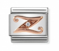Stainless Steel with Cubic Zirconia and 9ct Rose Gold Cursive Letter Z Link