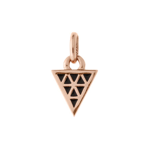 18ct Rose Gold Vermeil Plated Black Enamel Triangle Charm