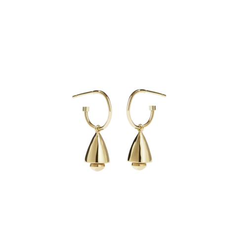 Gold Plated Bell Signature Hoops - Pair