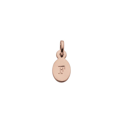 18ct Rose Gold Vermeil Plated F Oval Letter Charm