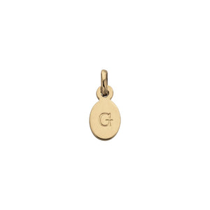 18ct Gold Plated Vermeil G Oval Letter Charm