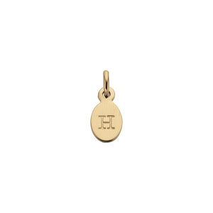18ct Gold Plated Vermeil H Oval Letter Charm