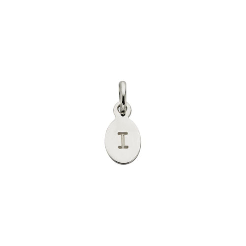 Silver I Oval Letter Charm