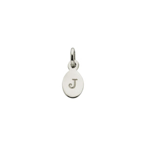 Silver J Oval Letter Charm