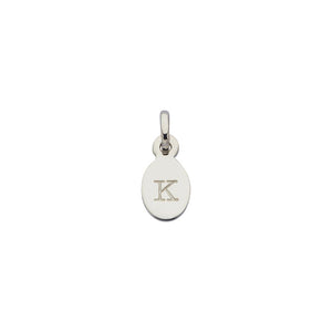 Silver K Oval Letter Charm