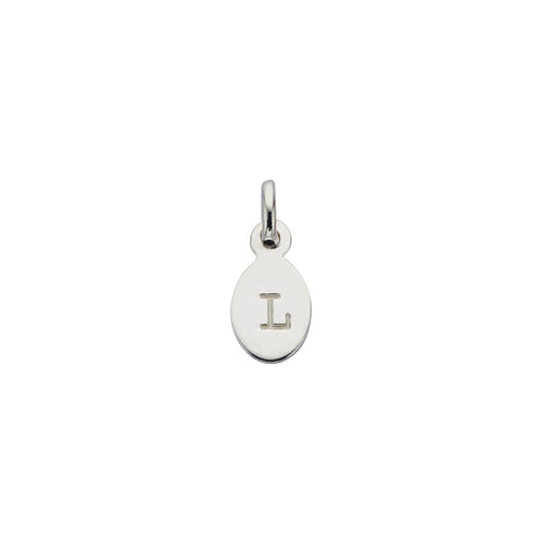 Silver L Oval Letter Charm