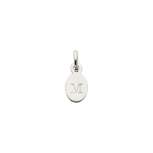 Silver M Oval Letter Charm
