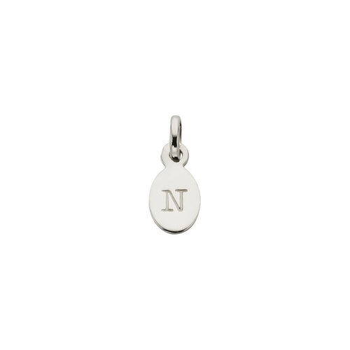 Silver N Oval Letter Charm