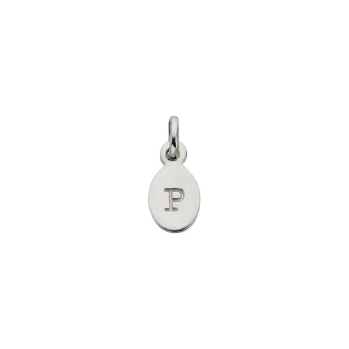 Silver P Oval Letter Charm