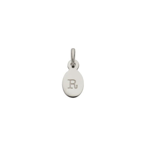 Silver R Oval Letter Charm