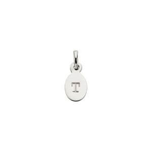 Silver T Oval Letter Charm