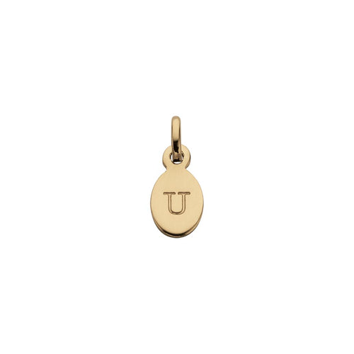 18ct Gold Plated Vermeil U Oval Letter Charm