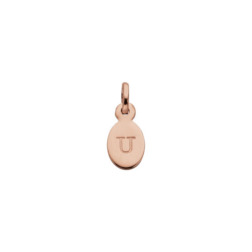 18ct Rose Gold Vermeil Plated U Oval Letter Charm