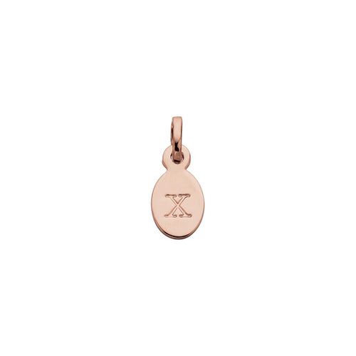 18ct Rose Gold Vermeil Plated X Oval Letter Charm