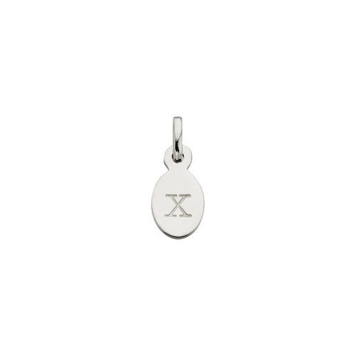 Silver X Oval Letter Charm