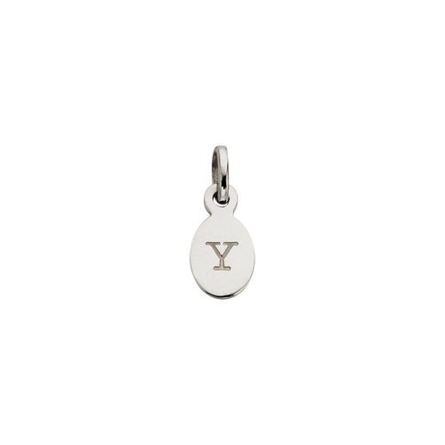 Silver Y Oval Letter Charm