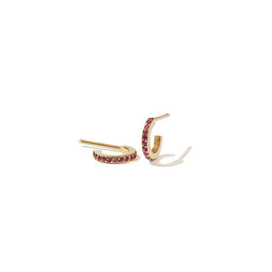 9ct Yellow Gold Pink Sapphire Box Hoops Pave Small