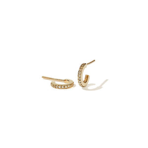 9ct Yellow Gold  White Dia Box Hoops Pave Small