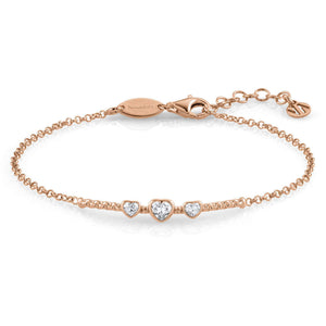 Rose Gold Plated Bella Hearts with Cubic Zirconia Bracelet