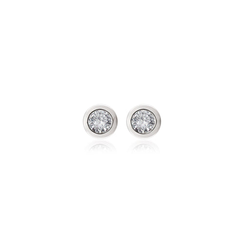 18ct White Gold Rubover Diamond Stud Earrings