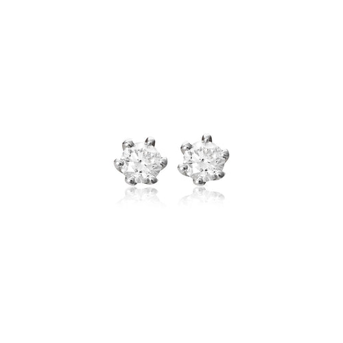 18ct White Gold 6-Claw Diamond Stud Earring
