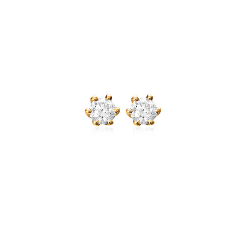 18ct Yellow Gold 6-Claw Diamond Stud Earring