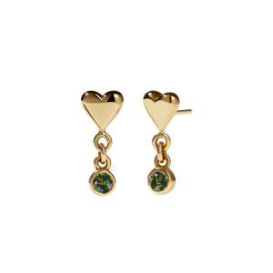 9ct Yellow Gold Camille Stud Earrings - Green Sapphire