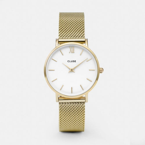 Minuit Mesh Gold Colour / White Watch