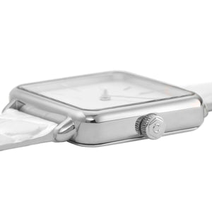 La Tetragone Silver / White Alligator Watch