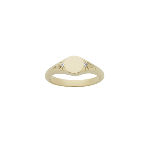 9ct Yellow Gold White Diamond Classic Signet Ring