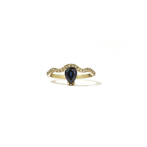 18ct Yellow Gold Clementine Blue Sapp Ring w White Dia