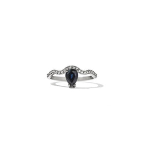 18ct White Gold Clementine Blue Sapp Ring w White Dia