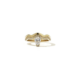 9ct Yellow Gold Clementine Ring w White Dia
