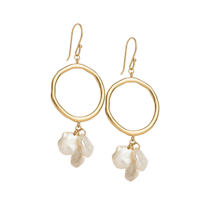Gold Plated Cluster Pearl Earrings